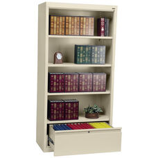 System Series 36'' W x 18'' D x 72'' H Four Shelf Welded Bookcase with File Drawer - Putty