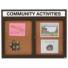 2 Door Indoor Enclosed Bulletin Board with Header and Black Powder Coated Aluminum Frame - 48