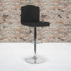Bellagio Contemporary Adjustable Height Barstool with Accent Nail Trim in Black Fabric