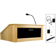 Solid Hardwood Victoria Wireless 150 Watt Sound and Hand Held Mic Tabletop Lectern - Maple Finish - 27