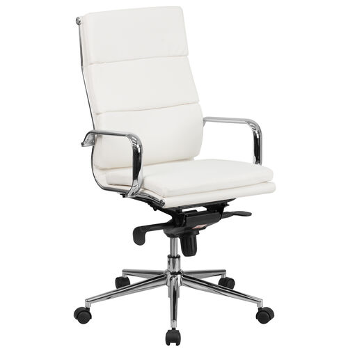 Our High Back White Leather Executive Swivel Office Chair with Synchro-Tilt Mechanism and Arms is on sale now.