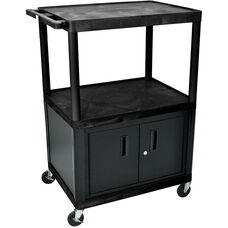 2 Large Shelf A/V Utility Cart with Locking Cabinet - Black - 32