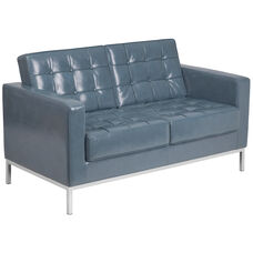 HERCULES Lacey Series Contemporary Gray Leather Loveseat with Stainless Steel Frame