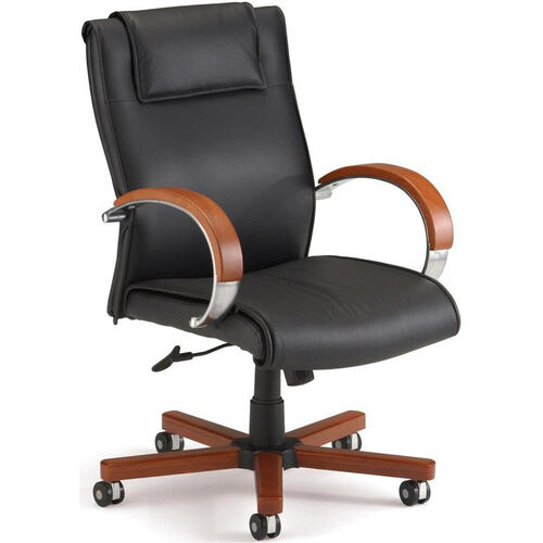 Our Apex Leather Executive Mid-Back Chair with Cherry Finish - Black is on sale now.