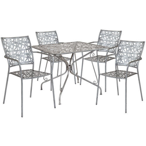 "Our Agostina Series 35.25"" Square Antique Silver Indoor-Outdoor Steel Patio Table with 4 Stack Chairs is on sale now."