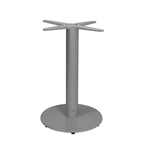 Verona Aluminum Dining Table with Small Round Base - Silver Powder Coat