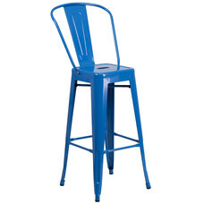 """Commercial Grade 30"""" High Blue Metal Indoor-Outdoor Barstool with Back"""