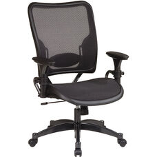 Space Air Grid Series Professional Air Grid Chair with Gun Metal Finish Accents - Black
