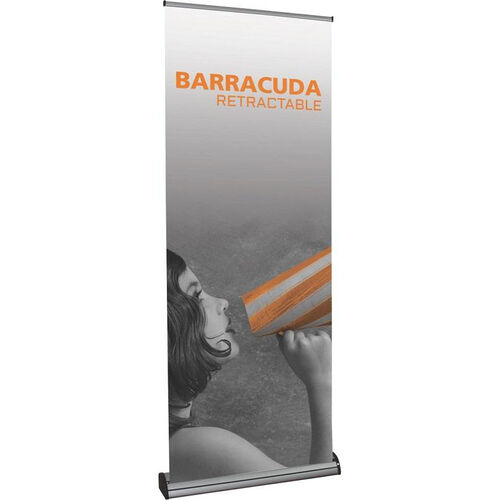 Barracuda Silver Frame Retractable Banner Stand with Padded Carry Bag