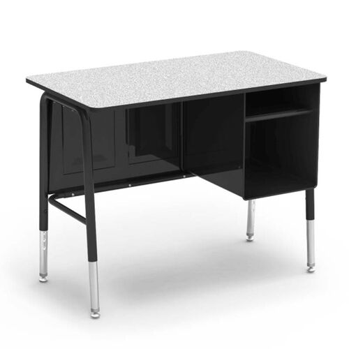 Our 765 Series Jr. Executive Desk with Gray Nebula Laminate Top and Black Frame - 20
