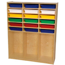 Wooden Cubby Storage Unit with 18 Assorted Plastic Letter Trays - 48