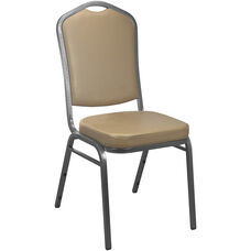 Advantage Tan Vinyl Crown Back Banquet Chair