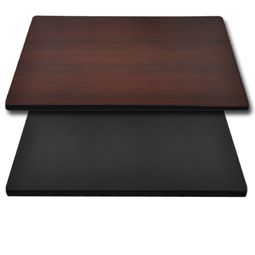 "Advantage 30""x42"" Restaurant Table Top - Black / Mahogany Reversible"