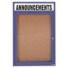 1 Door Indoor Enclosed Bulletin Board with Header and Blue Powder Coated Aluminum Frame - 36
