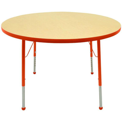 Adjustable Toddler Height Laminate Top Round Activity Table - Maple Top with Autumn Orange Edge and Legs - 36