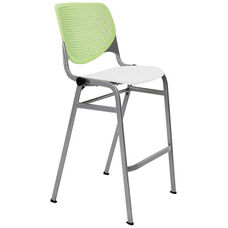 2300 KOOL Series Stacking Poly Armless Barstool with Lime Green Perforated Back and White Seat