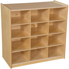 Wooden Cubby Storage Unit with 12 Lime Green Plastic Trays - 30