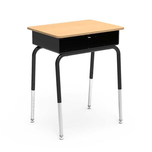Our Quick Ship 785 Series Fusion Maple Laminate Top Student Desk with Black Open Front Metal Book Box and Frame - 18