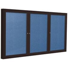 3-Door Bronze Aluminum Framed Outdoor Enclosure Vinyl Tackboard
