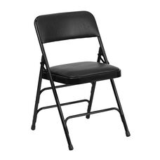 HERCULES Series Curved Triple Braced & Double-Hinged Black Vinyl Fabric Metal Folding Chair