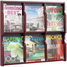 Expose™ Six Magazine Twelve Pamphlet Display with Plastic Front Panel - Mahogany