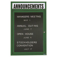 1 Door Outdoor Illuminated Enclosed Directory Board with Header and Green Anodized Aluminum Frame - 24