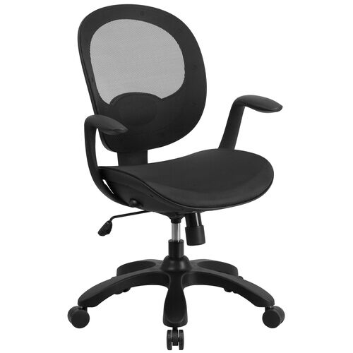 Mid-Back Transparent Mesh Swivel Task Chair with Seat Slider, Ratchet Back and Arms