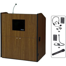 Multimedia Wireless 150 Watt Sound and Microphone Smart Podium - Walnut Finish - 48.5