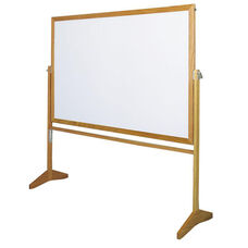 Premiere Series Reversible Mobile LCS Markerboard with Wood Frame - 60