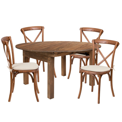 "Our HERCULES Series 60"" Round Solid Pine Folding Farm Dining Table Set with 4 Cross Back Chairs and Cushions is on sale now."
