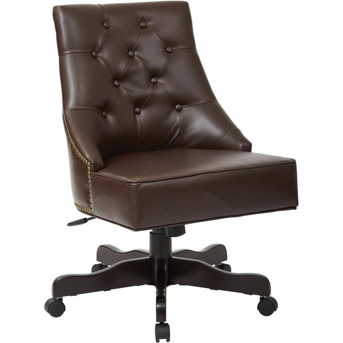 Office Star Products Inspired By Bett Rebecca Bonded Leather Tufted Back Chair With Nailheads Cocoa Bp Rebex Bd24 Churchchairs4less