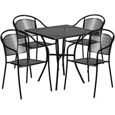 """Commercial Grade 28"""" Square Black Indoor-Outdoor Steel Patio Table Set with 4 Round Back Chairs"""
