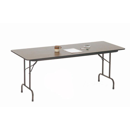 Our Quick Ship Walnut Top Melamine Folding Table with Brown Frame - 30