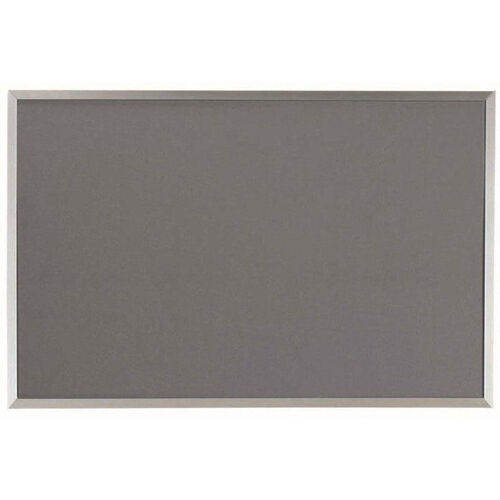 Our Designer Fabric Bulletin Board with Clear Satin Anodized Aluminum Frame - Gray - 24