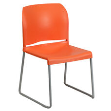 HERCULES Series 880 lb. Capacity Orange Full Back Contoured Stack Chair with Gray Powder Coated Sled Base