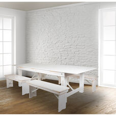"""HERCULES Series 8' x 40"""" Antique Rustic White Folding Farm Table and Four 40.25""""L Bench Set"""