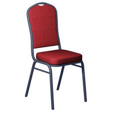 Embroidered Biltmore Ruby Fabric Upholstered Crown Back Banquet Chair - Silver Vein Frame