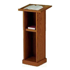 Stained Red Oak Full Pedestal Lectern
