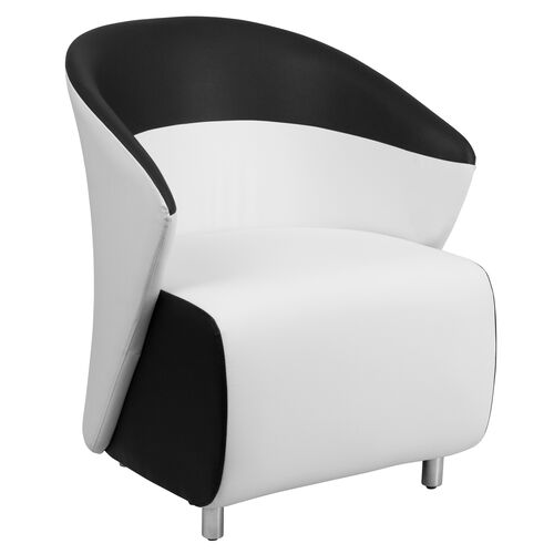 Melrose White Leather Lounge Chair with Black Detailing