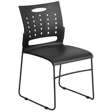 HERCULES Series 881 lb. Capacity Black Sled Base Stack Chair with Air-Vent Back