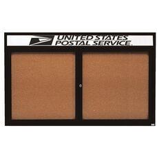 2 Door Indoor Illuminated Enclosed Bulletin Board with Header and Black Powder Coated Aluminum Frame - 48