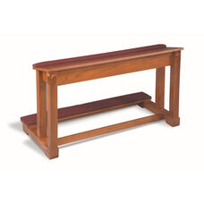 Stained Red Oak Prayer Rail with Upholstered Padded Top