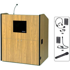 Multimedia Wireless 150 Watt Sound and Microphone Smart Podium - Maple Finish - 48.5