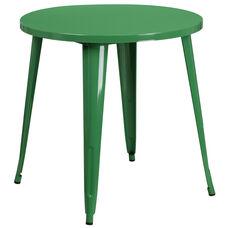 """Commercial Grade 30"""" Round Green Metal Indoor-Outdoor Table"""