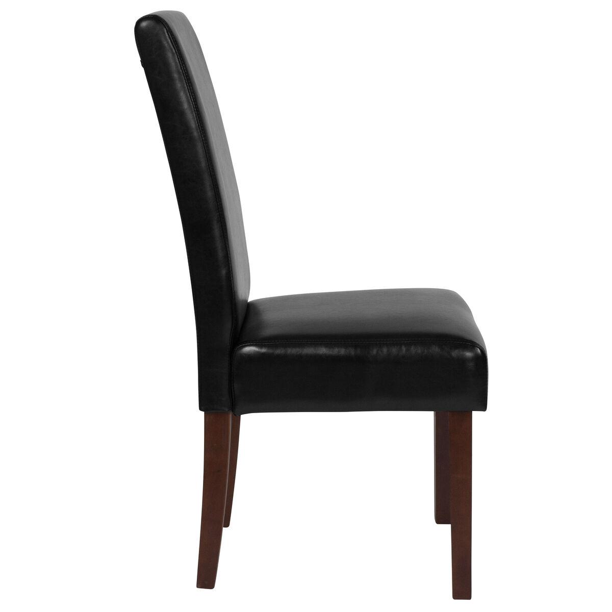 black leather parsons chair qy a37 9061 bkl gg churchchairs4less com