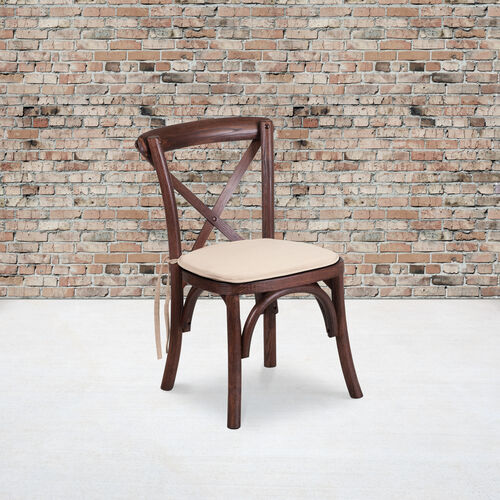 Our HERCULES Series Stackable Kids Mahogany Wood Cross Back Chair with Cushion is on sale now.