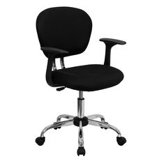 Mid-Back Black Mesh Swivel Task Chair with Chrome Base and Arms