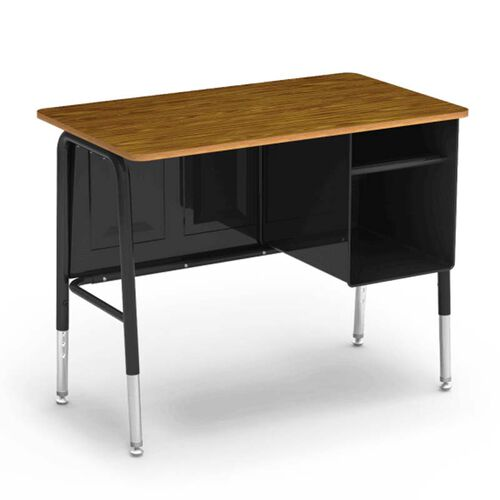 Our Quick Ship 765 Series Jr. Executive Desk with Medium Oak Laminate Top and Black Frame - 20