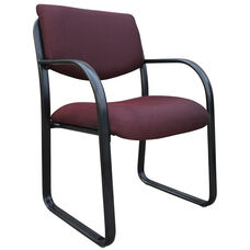 Mid Back Fabric Guest Side Chair with Armrests - Burgundy