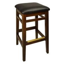 Trevor Walnut Wood Backless Barstool - Black Vinyl Seat